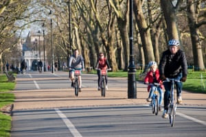 Cycling in Hyde Park on Santander bikes at the start of the lockdown at the end of March