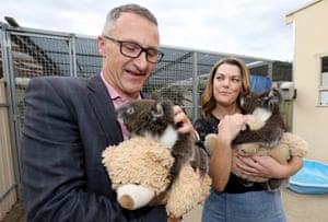 The Greens leader, Richard Di Natale, and Greens senator Sarah Hanson-Young campaign at Adelaide Koala and Wildlife hospital in Adelaide