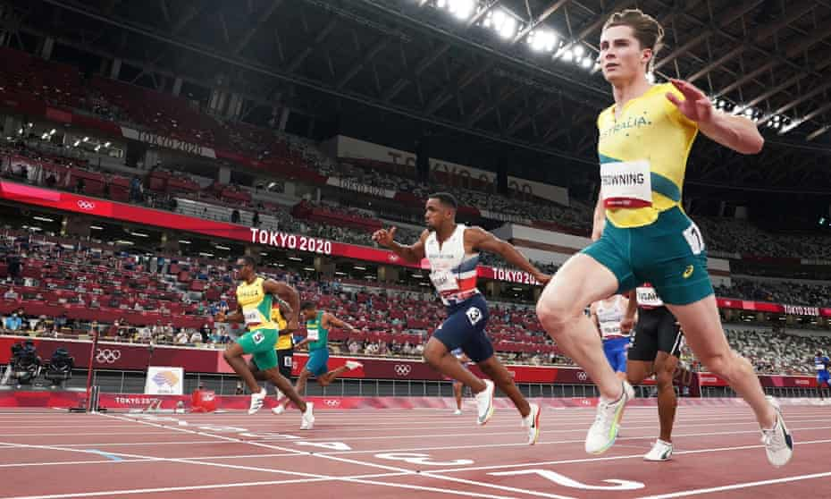 Rohan Browning crosses the line to become the first Australian to win a heat in the Olympic men's 100m since 1956
