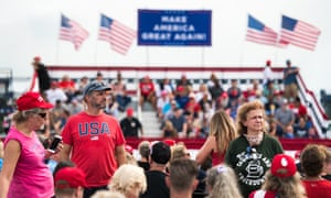 A crowd awaits the arrival of Donald Trump in Winston-Salem, North Carolina.