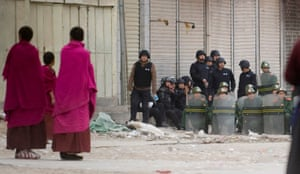 Buddhist monks in a standoff with security forces in the town of Xiahe in Gansu province, home to the Labrang Monastery, in April, 2008.