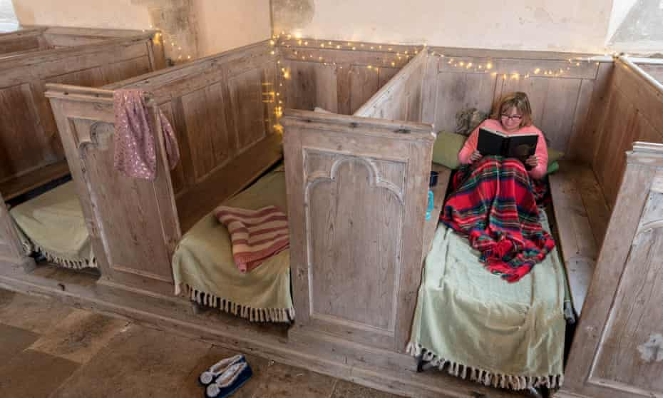 A guest gets cosy in Holy Sepulchre church in Warminghurst, West Sussex.