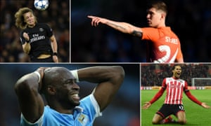 Clockwise from top left: David Luiz joined PSG for £50m, a record for a defender; John Stones was a £47.5m signing for Manchester City; Liverpool were ready to pay £60m for Virgil van Dijk; and Eliaquim Mangala did not prove worth £42m at City.