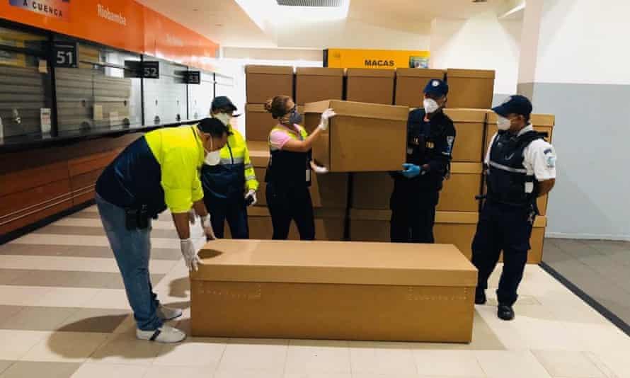 Cardboard coffins in Guayaquil