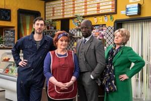 Blake Harrison, Brenda Blethyn, Jimmy Akingbola and Barbara Flynn in the Kate and Koji.