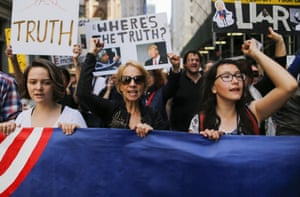 Rallies and marches are taking place across the country to call for urgent investigation into possible Russian interference in the US election.