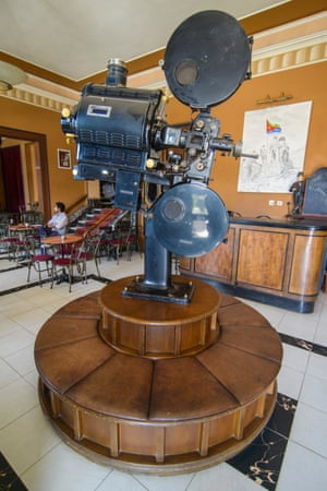 An old film projector in the foyer of Cinema Roma, in Asmara.