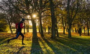 Man running through trees with frost on grass. England, UKDJ1HNY Man running through trees with frost on grass. England, UK