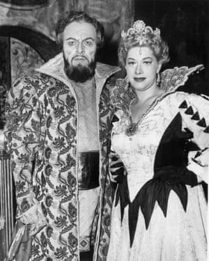 Bulgarian bass-baritone Boris Christoff with Regina Resnik during rehearsals of Boris Godunov at the Royal Opera House, London in October 1958.