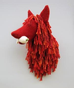 Fox wall trophy bust made by Rachel Denny.