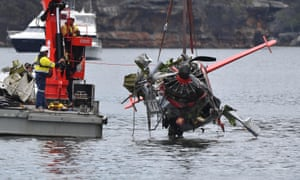 The wreckage of a seaplane that crashed into Jerusalem Bay, north of Sydney, on New Year's Eve 2017.