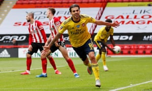 Dani Ceballos celebrates after scoring Arsenal's winner in the FA Cup at Sheffield United