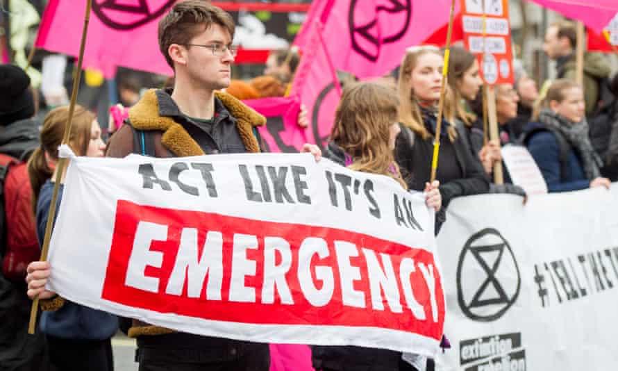 Extinction Rebellion activists in February 2020
