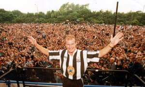 Alan Shearer is introduced to the Newcastle fans in 1996.