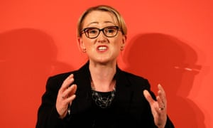 Rebecca Long-Bailey speaking at leadership hustings