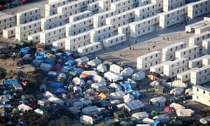 An aerial view of the sprawling camp in Calais.