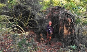 Archaeologist David Jacques next to the stone age 'eco home' in Blick Mead near Stonehenge.