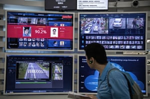 A display for facial recognition and artificial intelligence is seen on monitors at Huawei's Bantian campus