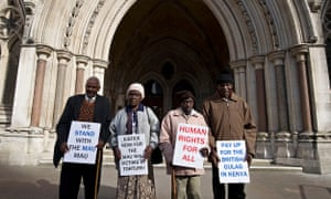 Kenyan nationals Wambugu wa Nyingi, Jane Muthoni Mara, Paulo Nzili and Ndiku Mutua at the High Court in London in 2012. They claimed they were tortured by British colonial rulers during the Mau Mau uprising in the 1950s and given the right to sue Britain.