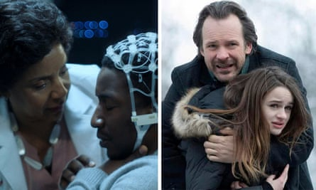 Schlock and horror … Phylicia Rashad and Mamoudou Athie in Black Box; Peter Sarsgaard and Joey King in The Lie.