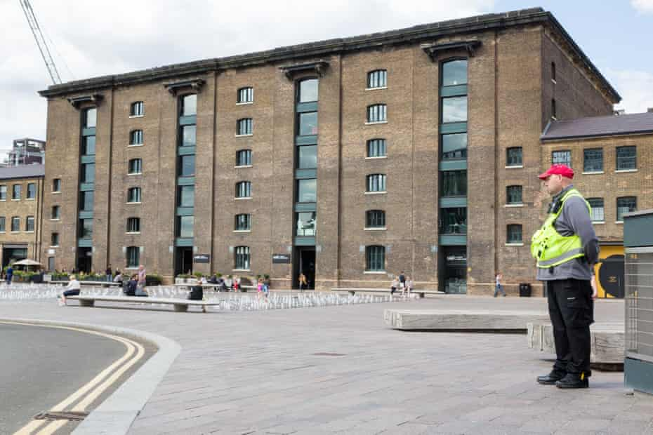 Nearby Granary Square, with private security in attendance.