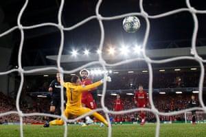 Mohamed Salah scores Liverpools fourth goal against Salzburg.