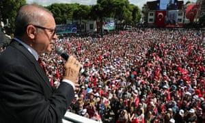 Turkish president Recep Tayyip Erdoğan addresses crowds in Ünye, north-eastern Turkey.