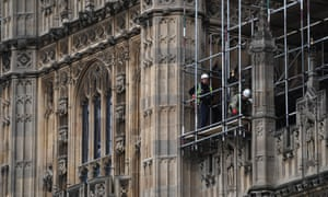Workers on scaffolding at the Houses of Parliament.
