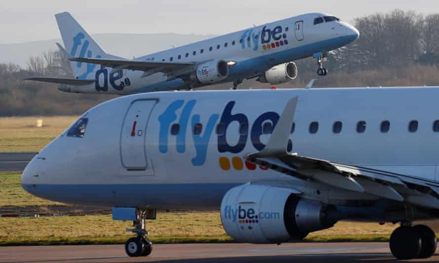 Flybe planes at Manchester airport. The airline operates nearly 40% of the UK's domestic flights.