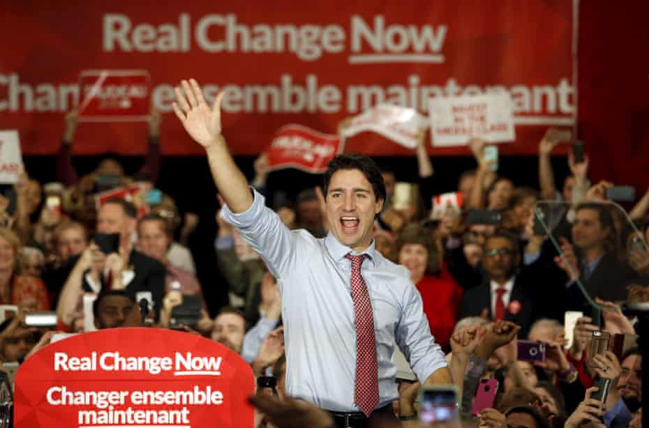 Justin Trudeau at an election rally in Ottawa in 2015.