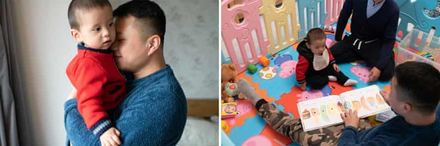 Left: Xu hugs his son, Diego, at their apartment in China, 2019. Right: Xu and Li read to their son.