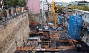 Construction workers on a site in The Rocks on 1 April 2020 in Sydney, Australia.