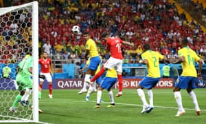 Steven Zuber heads in Switzerland's equaliser after putting his hands on Miranda's back as the cross came into the Brazil penalty area.