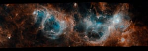 The bubbles and wisps featured in this image by Esa's Herschel observatory reveal great turmoil in the W3/W4/W5 complex of molecular clouds and star-forming regions. Over 6,000 light-years away, in the constellation Cassiopeia, it is one of the best regions in which to study the life and death of massive stars in our galaxy. Observing the sky at far-infrared and submillimetre wavelengths from 2009 to 2013, Herschel was able to catch the faint glow of dust grains interspersed in these clouds. Astronomers can use this glow to trace the otherwise dark gas where star formation unfolds.