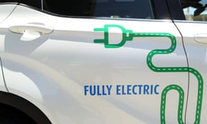 A general view of the stickers on an EV Automotive E3 Glory crossover SUV