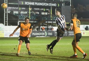 Connor Hall of Chorley goes close with a header.