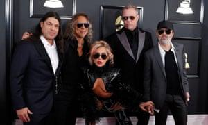Robert Trujillo, Kirk Hammett, Lady Gaga, James Hetfield and Lars Ulrich of Metallica