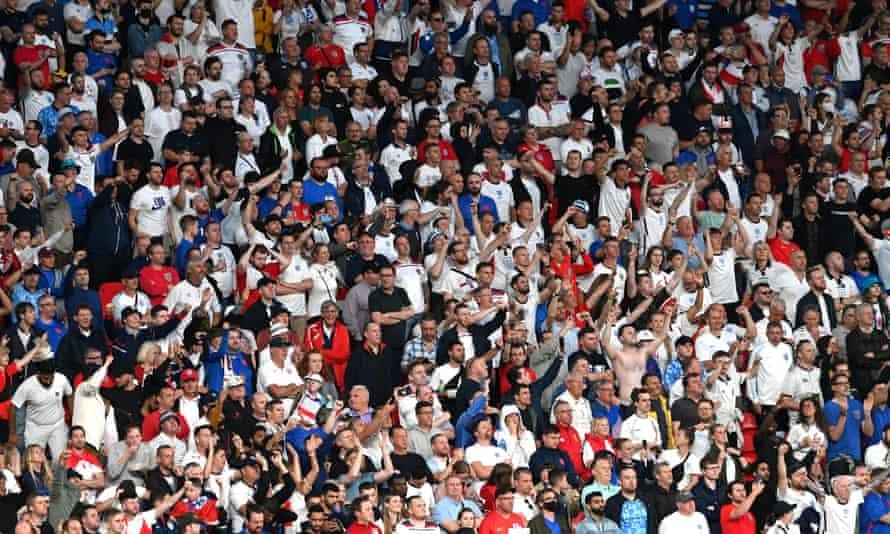 England fans inside Wembley stadium on Sunday night.