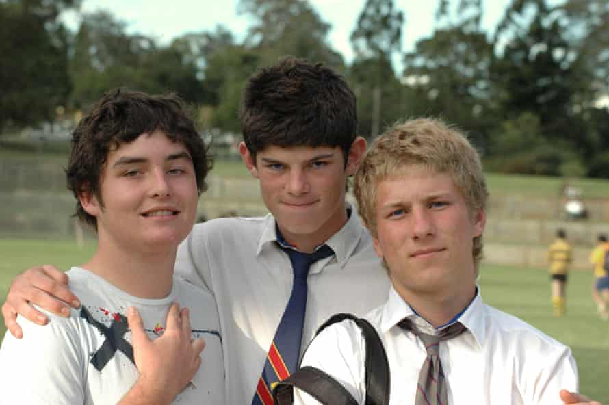 Lech Blaine, left, Hamish Stewart and Dom Hodal in high school