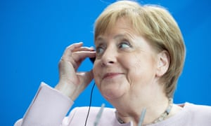 German Chancellor Angela Merkel at a press conference in Berlin earlier today.
