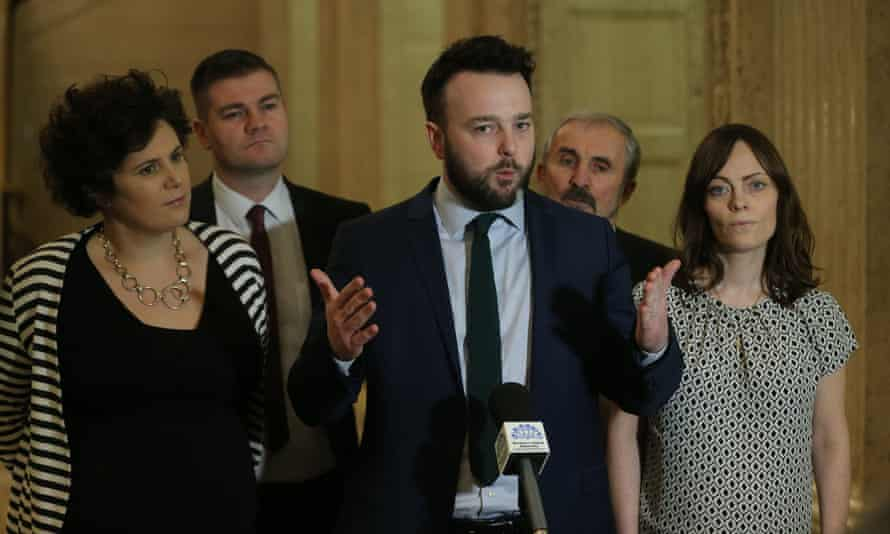 Colum Eastwood with members of the Social Democratic and Labour party