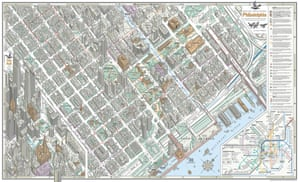 Bird's Eye View of Philadelphia, by Bill Marsh, is styled after the work of Constantine Anderson, a figure almost unknown today, who created what may be the 20th century's greatest graphic: a bird's-eye view of midtown Manhattan