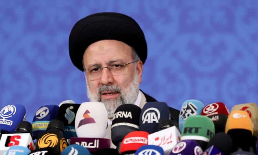 Iran's Ebrahim Raisi speaks during a news conference in Tehran