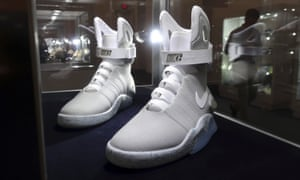 A pair of 2016 'Nike Mag Back to the Future' shoes on display at Sotheby's auction house in New York before Miles Nadal dropped by.