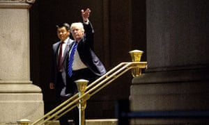 Donald Trump dining at the Trump International hotel in Washington. 'He's his own landlord at this point,' Walter Shaub said.