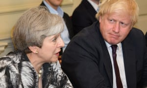 The prime minister, Theresa May, with the former foreign secretary Boris Johnson