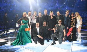 Eurovision contestants pose for a group photo after performing in the second semi-final.