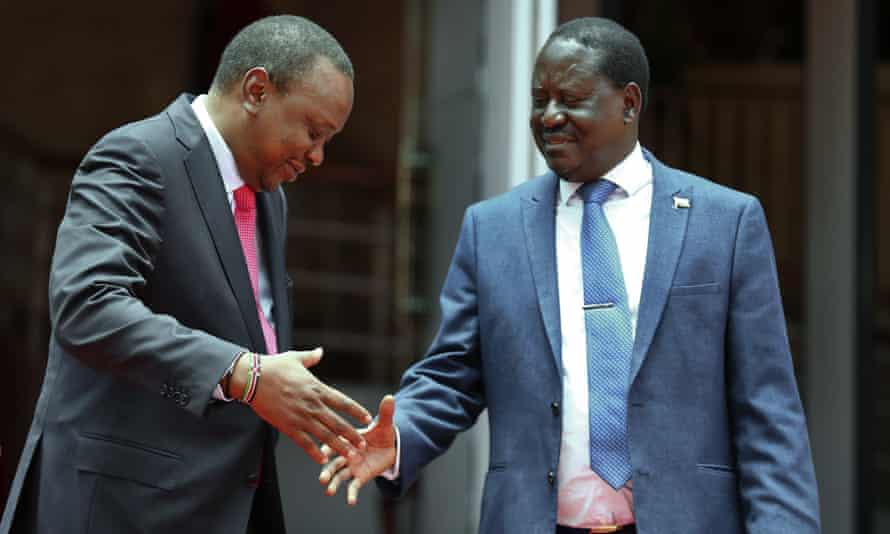 President Uhuru Kenyatta, left, with the opposition leader Raila Odinga after announcing an agreement to work together and end violence around elections, out of which came the BBI.