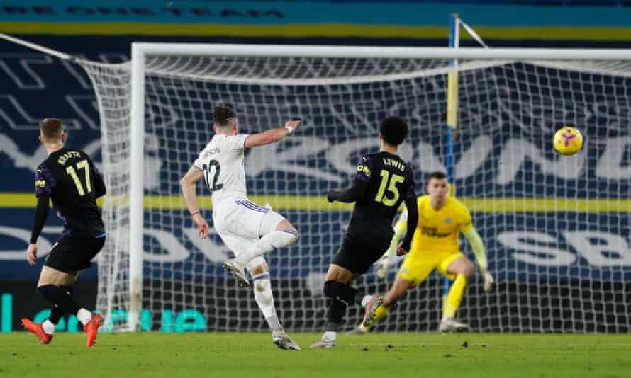 Jack Harrison fires home Leeds' fifth goal against Newcastle.