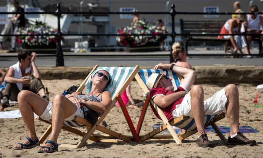 People sunbathing on Scarborough beach
